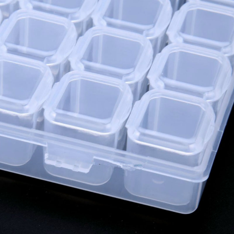ONNPNNQ 28 Slots Clear Plastic Empty Storage Box Jewelry Nail Art Rhinestone Tools Display Storage Case Travel Organizer Holder8