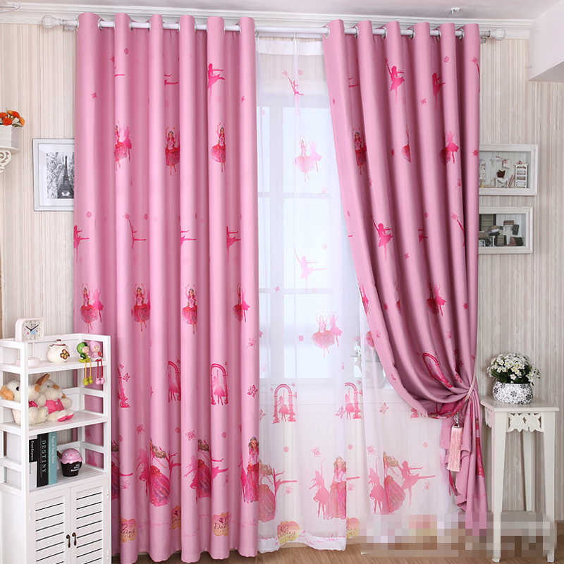 custom curtains cartoon child curtain shade cloth pink color girl room bedroom windows  cloth curtain tulle E174