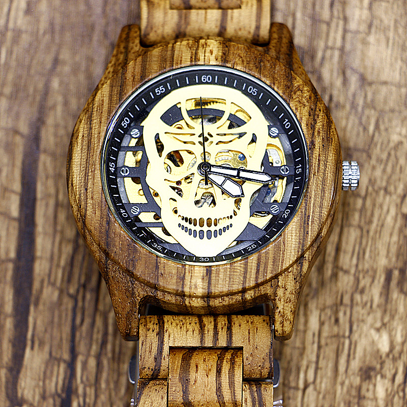 Mens Unique Skull Automatic Mechanical Wooden Watch Man Full Wood Strap Wristwatch Mens Gift Box relogio masculino<br>