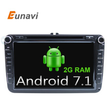 Eunavi 2G RAM 8 inch Quad Core  Android 7.1 2 Din Car DVD  For VW JETTA Tiguan Passat B6Touran Caddy Amarok Golf EOS  DAB BT GPS