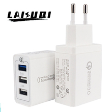 3 USB Ports Smart Adjustable Fast Wall Charger 3.6V 5V 6.5V 9V 12V 1.5A 2A 3A 30W AC DC Power Adapter charger qc3.0 SP QC 2.0