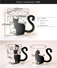 Cute New Creative Cat Kitty Mug Cup Tea Milk Coffee Cups Blue Dots Espresso Sets for Birthday Gift Glass Drinkware Couples Cup