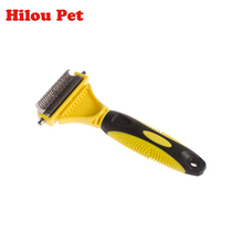 Double Blades Side Pet Fur Dog Brush Cat Grooming Deshedding Trimmer Tool Dog Comb Pet Brush Rake(China)