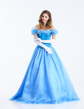 New Custome Made Sky Blue Women Halloween Cosplay Adult Princess Cinderella Costume Sexy Adult Cinderella Costume