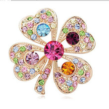 TOMTOSH Romantic  rhinestone four leaf clover brooch full rhinestone fashion personality gentlewomen corsage