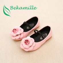 2017 Spring Autumn for children kid girl leather shoes fashion flower flat shoes comfort boat shoes Girls princess single shoe