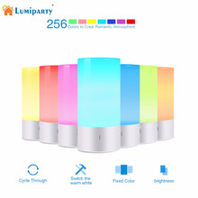 Lumiparty Touch Sensor Table Light LED Bedside Lamp Dimmable 256 RGB Color Changing Aluminum Base Illumination Mood Night Light