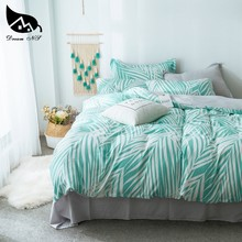 Dream NS Green Washed Cotton Bedding Set For White Leaves Bedclothes Pillowcase Warm Soft Home Bedroom Living Room Home textiles(China)