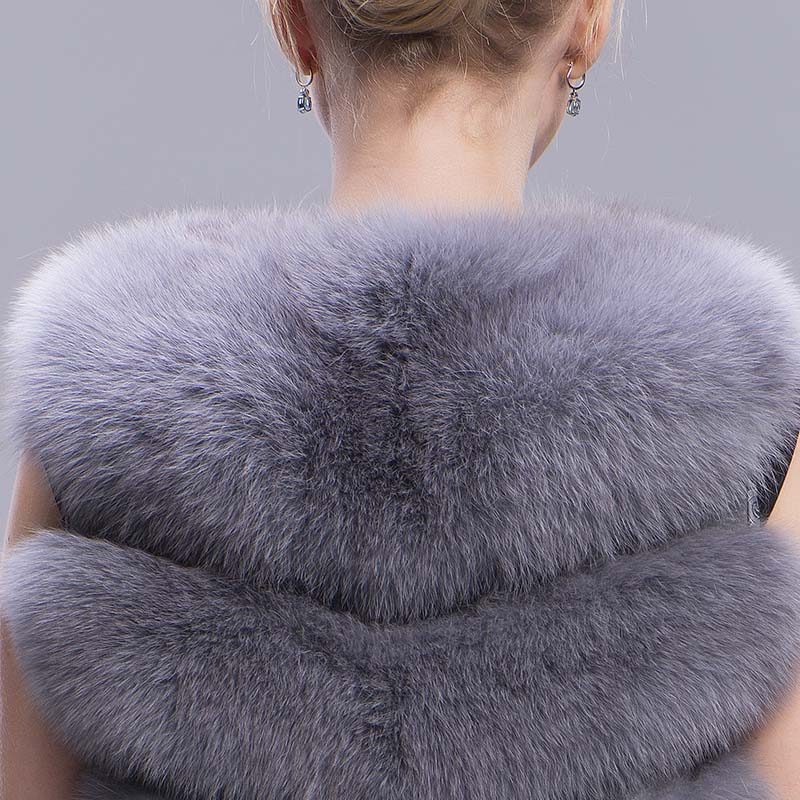 fox fur vest 6 lines grey 7