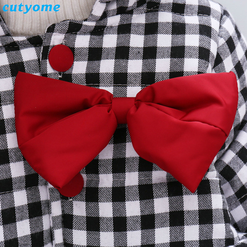 Cutyome Newborn Baby Girls Outwear Coats Hooded Plaid With Bow Cotton Winter Jackets Children Infant Padded Thick Jacket Clothes (19)