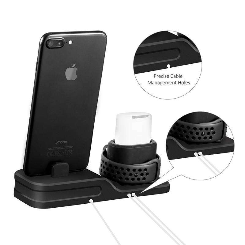 3 in 1 Charging Dock Holder For Iphone X Iphone 8 Iphone 7 Iphone 6 Silicone charging stand Dock Station For Apple watch Airpods (3)