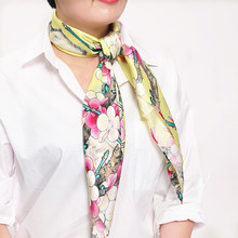 100% silk women square scarf  2015 new fashion scarf  size:88X88  thickness:12mm  pink scarf bird magnolia flower yellow