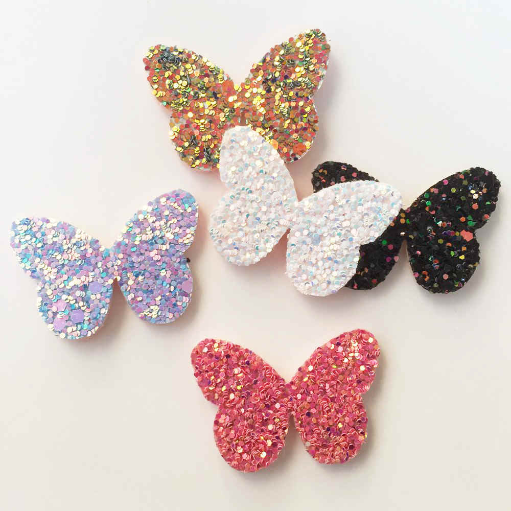 16pcs Felt Fabric Glitter Paillette Butterfly Patches Appliques for Clothes  Ornament Wedding DIY Hair Clip Accessories 57a13970260c