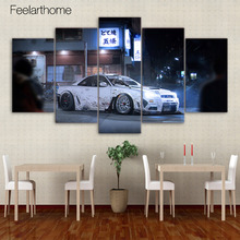 5 piece canvas painting sports car japanese street HD posters and prints canvas painting for living room free shipping XA-1803A(China)