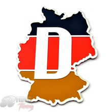 Aluminum Germany Flag D Letter Badge Emblem Car Trunk Rear Boot Wind Side Decal Fit Polo GTI Eos Bora Golf MK5 MK6 Sticker 070