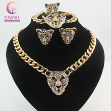 Cool Black Enamel Leopard Head Crystal Necklace Set For Women/Men Trendy Gold color Costume African Jewelry Sets(China)