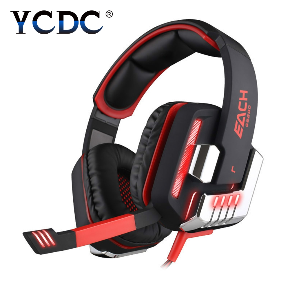 Gaming Headphone Each G8200 LED Earphone Retractable Mic Surround Shock Bass headphones with microphone for computer PC USB PS4(China)