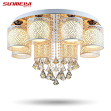 2017 New Round LED Crystal Ceiling Light For Living Room Indoor Lamp with Remote Controlled luminaria home decoration(China)