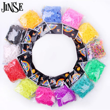 JINSE DIY silicone loom bands mixed colors rubber loom bands refills used to make bracelet 600 loom bands+24 S-clips