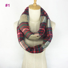 Latest Design Winter Acrylic Tartan Loop Scarf Shawl Popular Popular Plaid Blanket Wrap Snood Fashional Women Infinity Scarf(China)
