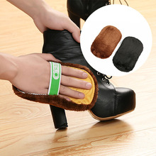 1pc Soft Imitation Wool Plush Shoes Cleaner Polishing Shoe Brush Gloves Wipe Shoes Mitt for Leather Products Color Random