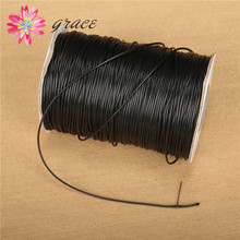 10m/lot 1mm Waxed Cotton Thread Black Color Nylon Leather Cord String Braid Knit Rope For Diy Making Jewelry Bracelets Materials(China)