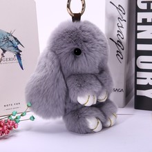 hot 17 color Trinket Rabbit Fur Keychain For child Gift Cut Fluffy Bunny Keychain Pompom Toy Hare Keyring for car bag accessorie(China)