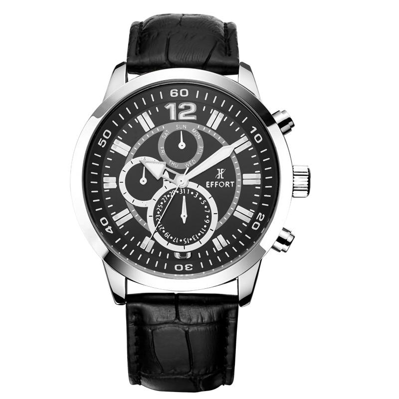 New EFFORT Sport Watch 6 Hands Shark Leather Band Calendar 24 Hours Dual Time Dial Black Yellow Men Military Wristwatch<br><br>Aliexpress