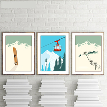 Vintage Winter Sports Poster Ski Art Print Poster Wall Pictures ,  Skiing Picture Canvas Painting Retro Home Decoration