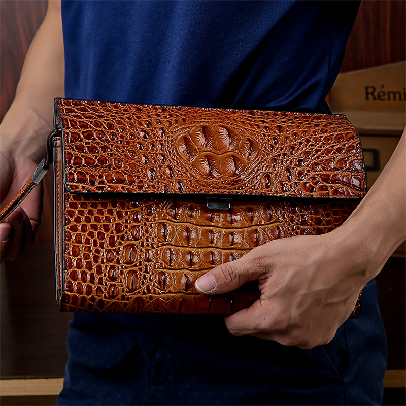 crocodile alligator skin Men Clutch Bag Genuine Leather Man Wallet Long Male Purse Money Clip business Casual England style<br>