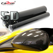 5D Car Sticker 30*152cm Glossy Carbon Fiber Vinyl Film Wrap Foil Waterproof DIY Car Decorative Sticker Black Car Styling Decal(China)