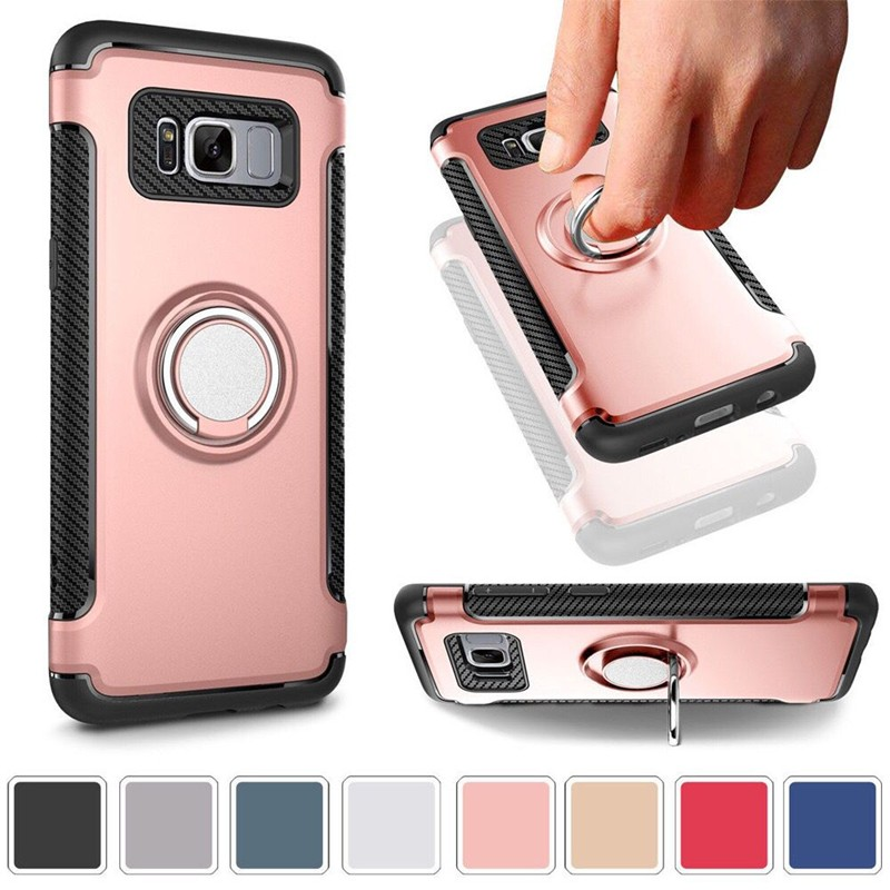 OUJINUO car holder stand magnetic suction bracket finger ring TPU+PC silicone back case for samsung galaxy s8 s8plus(China)