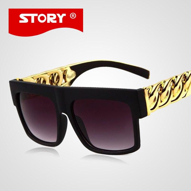 STORY Kim Kardashian Sunglasses Retro Big Square Sunglasses Men Women Glasses Gold Chain Twisted Riskier Temple oculos UV400<br><br>Aliexpress