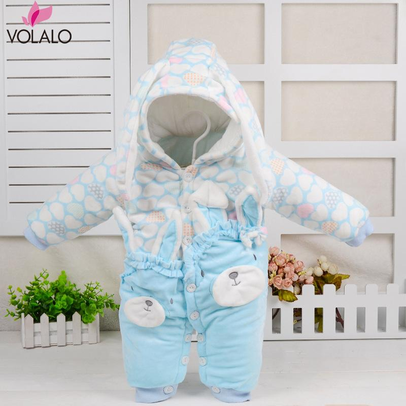 Cute Autumn Winter Cotton Baby Romper Long Sleeve Coverall Hooded Cartoon Infant Jumpsuit with cartoon One Piece for Toodler<br><br>Aliexpress