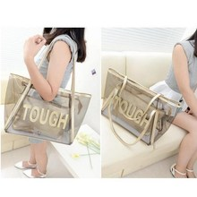 Women Handbags Purse Solid Casual Tote Shoulder Bag Jelly Crystal Transparent Composite Bags Teenager Girls Small Beach Bag 2017(China)