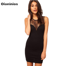 Black Noir Clothing Summer Women Dress See-through Sleeveless Splicing Lace Party Clubbing Mini Summer Party Dress Sexy Clothes