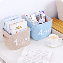 XZJJA Animal Dots Cotton Linen Sundries Toys Storage Box Baskets Foldable Dresser Desktop Makeup Organizer Cosmetics Container(China)