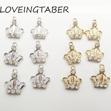 Buy  (Choose Color First ) 16mm*16mm 30pcs/lot Hollow Crown Rhinestone Small Charm Pendants Jewelry Making Handmade DIY Accessories for $5.24 in AliExpress store