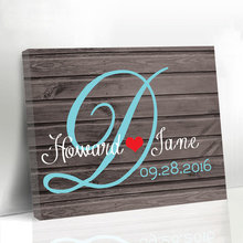 Wedding Guest Book Custom Monogram Canvas Guest Book Personalized Wooden Signature Book Alternative Print Gift for Bride & Groom
