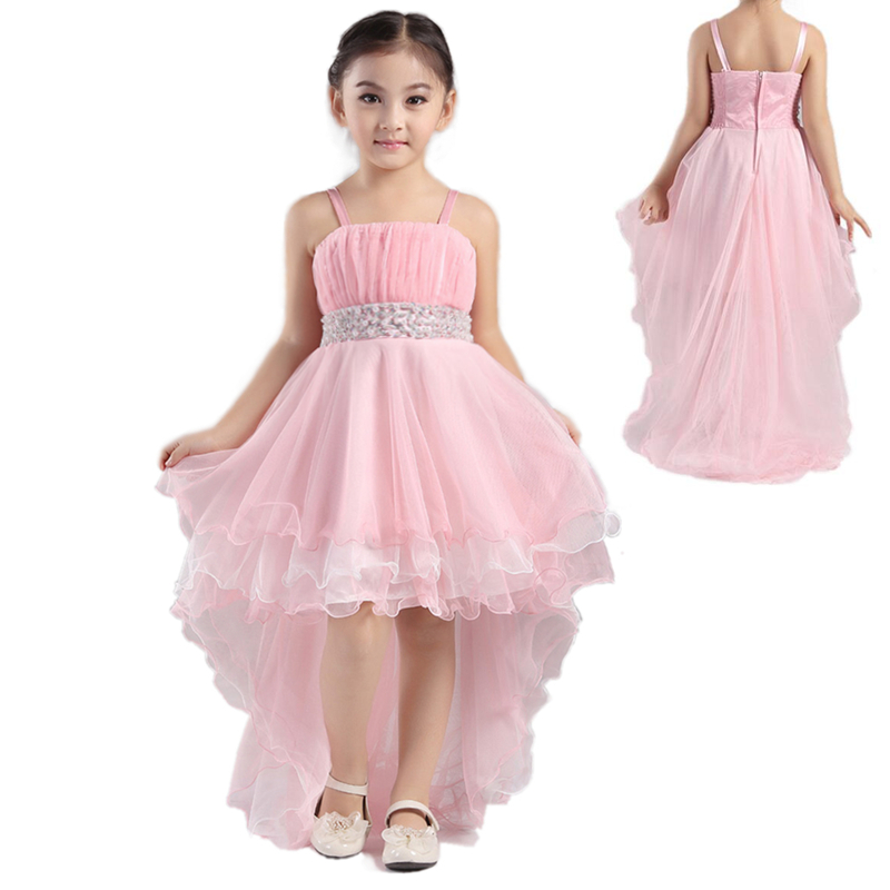 Hg Princess 2018 New Arrival Formal Kids Dresses For Girls 4t-12t Child Party Dress Beading Pink Flower Girl Dresses With Train<br>