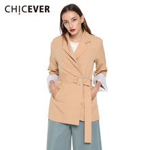CHICEVER 2017 Spring Long Sleeve Custumes For Women Blazer Female Jacket Lace Up Back Waist Casual Black Blazers Clothing