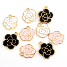 10pcs White Pink Black Enamel Rose Charm Pendants Gold Color Alloy beads Jewelry Finding(China)