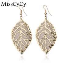 MissCyCy 2016 News Fine Jewelry Bohemia Vintage Earrings Hollow Leaves Rhinestone Drop Earrings For Women