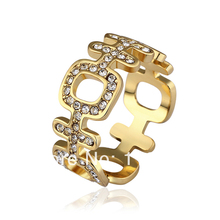 "LR511 New  Yellow Gold Color Finger Rings Austrian Crystal Pave Items Women Fashion Jewelry Chinese Meaning ""Happy"""