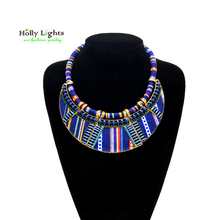 Women boho hippie collar maxi necklaces&pendants bohemia choker navy blue green big collares ethnic mujer 2017 costume jewellery