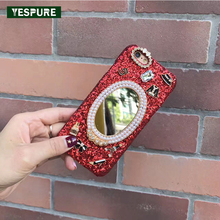 YESPURE Fancy Mirror Telephone Case for Iphone 7plus Anti Choque Bling Glitter Cellphone Cover for Women Girls PC Handphone Case