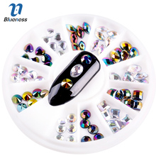 Blueness Laser Colorful 3D Mixed Shape Acrylic Design Rhinestones DIY Nail Art UV Gel Supplies Studs Decorations Crystal ZP341