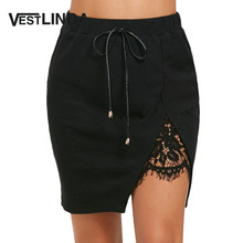 Buy VESTLINDA Black Lace Skirt Sexy Club Party Women Skirts Casual Split Lace Panel High Waisted PU Leather Bowknot Mini Skirts for $9.99 in AliExpress store