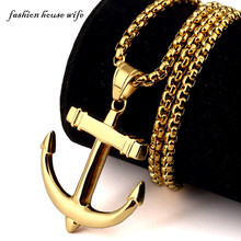 Men Women Fashion Trendsetter Titanium Necklace Gold Anchor Pendant Necklace HIPHOP Jewelry
