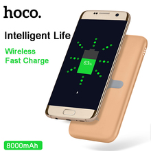 HOCO B11 8000mAh 2 in 1 Power Bank QI wireless charger for iPhone,SAMSUNG,HTC,LG,tablet PC portable Backup battery ultra thin(China)
